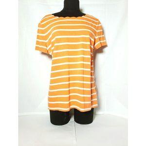 Talbots Large Orange Scallop Neck Striped Top